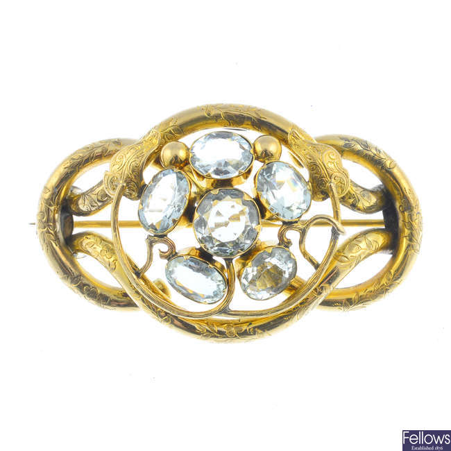 An early Victorian 9ct gold aquamarine brooch.