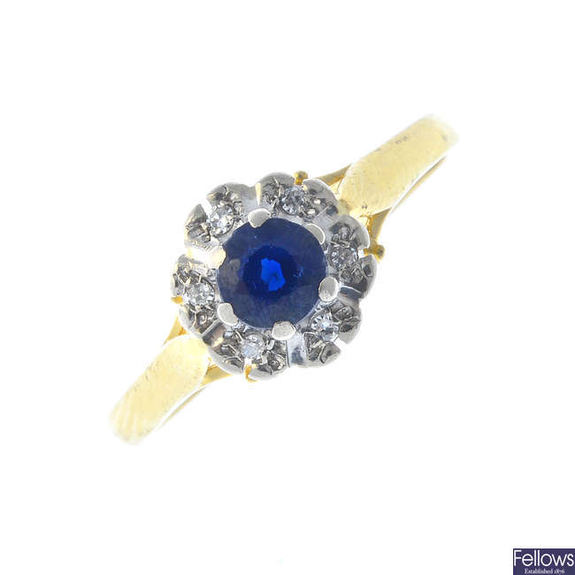 A 1960s 18ct gold sapphire and diamond cluster ring.