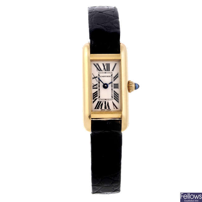 CARTIER - an 18ct yellow gold Tank Allongee wrist watch.