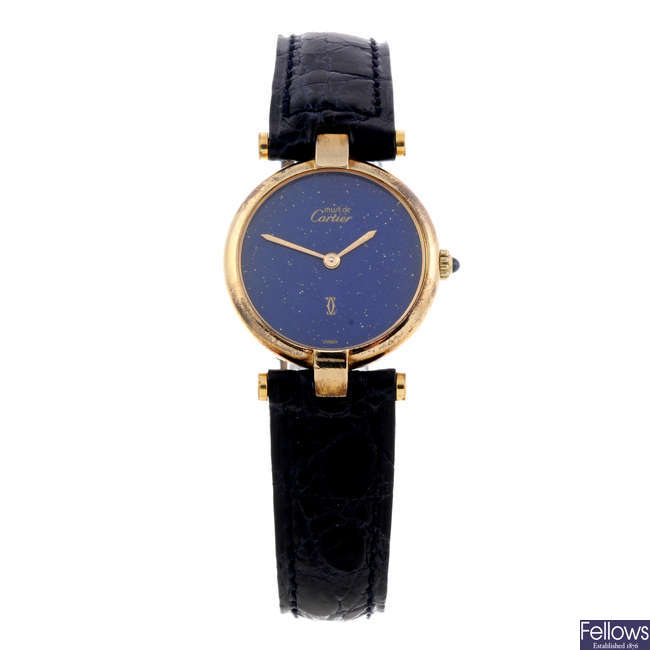 CARTIER - a gold plated silver Must de Cartier wrist watch.