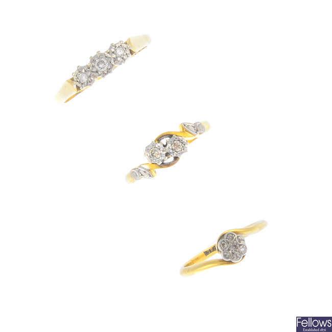 Three diamond rings.