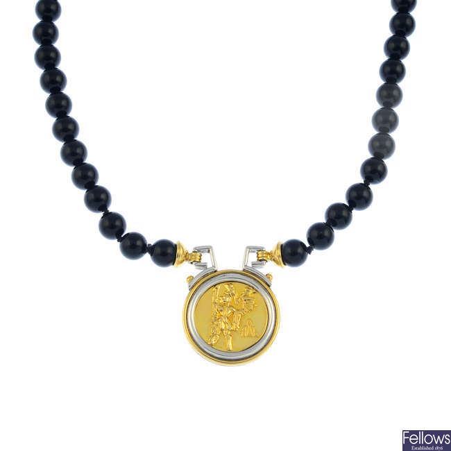 An onyx necklace.