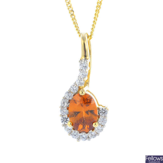 A 9ct gold zircon and cubic zirconia pendant, with 9ct gold chain.