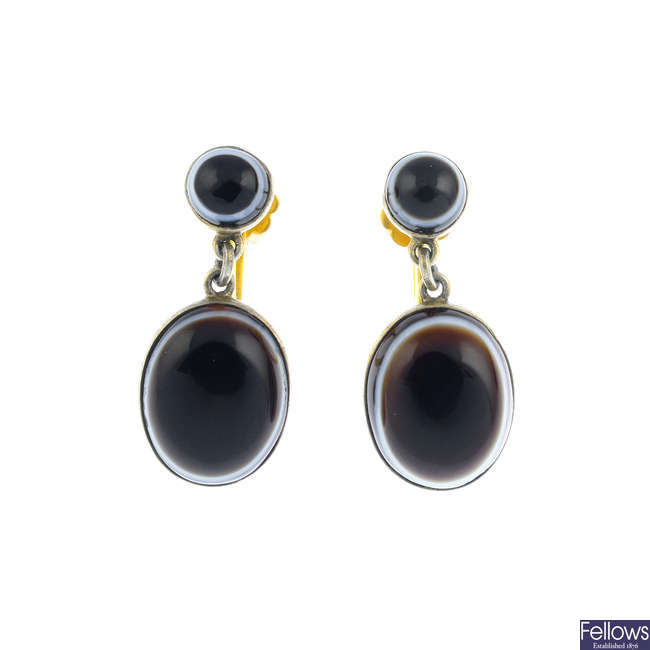 A pair of late Victorian banded agate earrings.