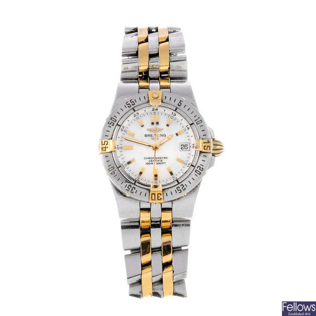 BREITLING - a lady's bi-metal Starliner bracelet watch.