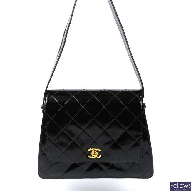 CHANEL - a vintage patent leather box handbag.