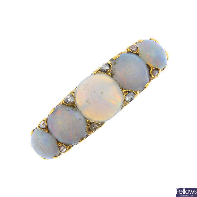A late Victorian 18ct gold opal and diamond ring.