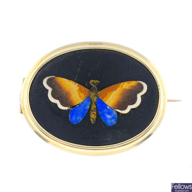 A late Victorian gold pietra dura butterfly brooch.