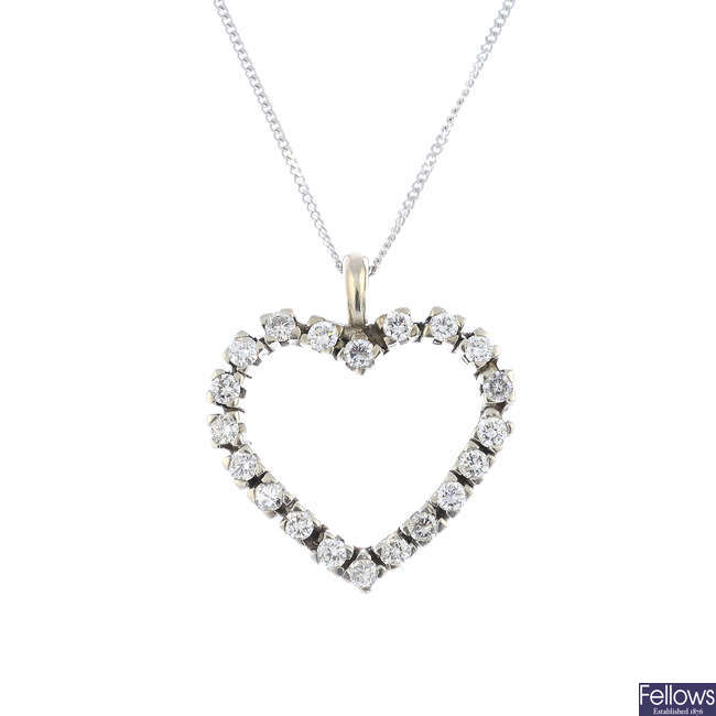 A diamond heart pendant, with 9ct gold chain.