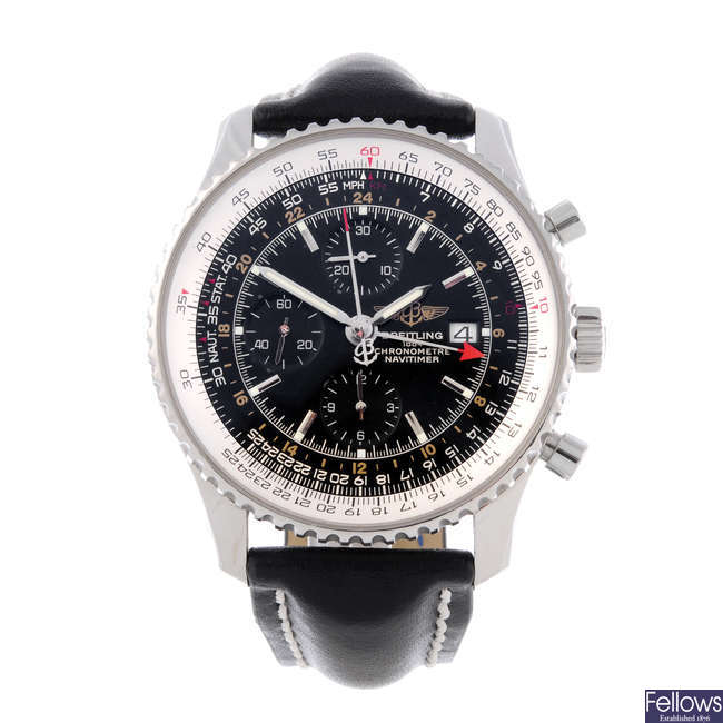 BREITLING - a gentleman's stainless steel Navitimer World chronograph wrist watch.