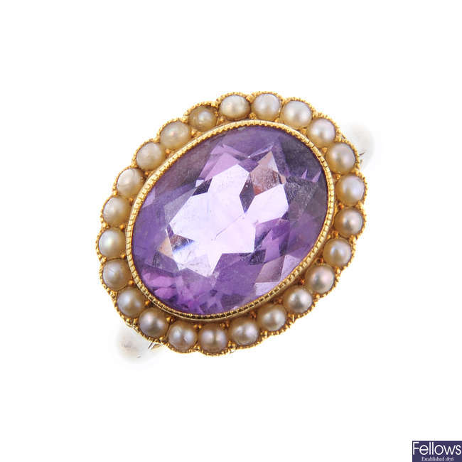 An amethyst and split pearl ring.