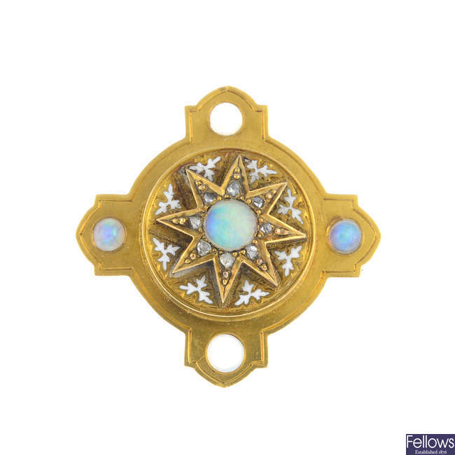 A late Victorian gold, opal, diamond and enamel brooch.