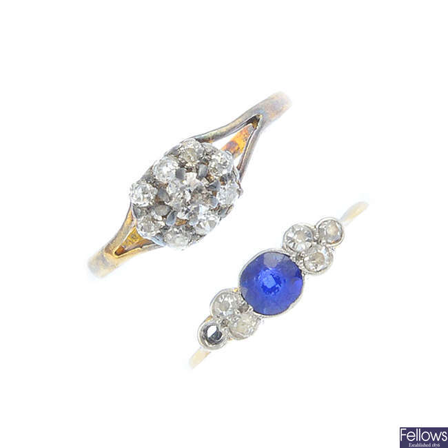 Two early to mid 20th century diamond and sapphire rings.