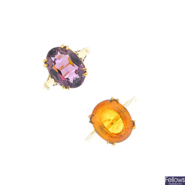 A 9ct gold citrine ring and a paste ring.