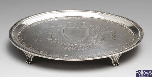 A George III silver teapot stand.