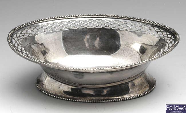 An early twentieth century pierced silver dish.