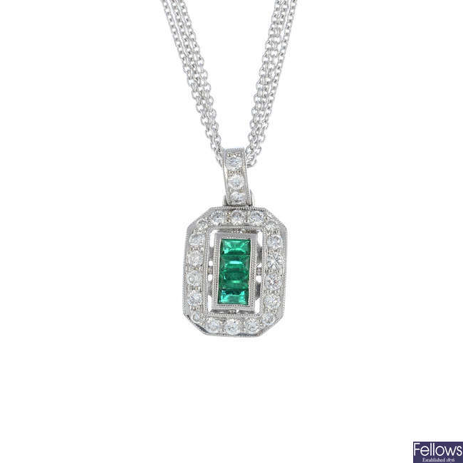 An emerald and diamond pendant, with chain.