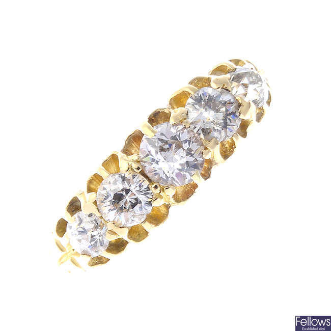 A late Victorian gold diamond five-stone ring.