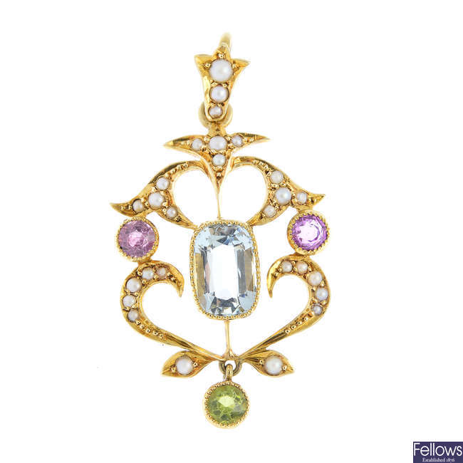 An early 20th century 15ct gold multi gem-set pendant.