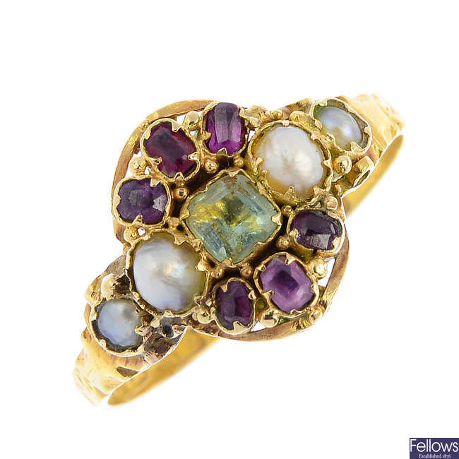 A mid Victorian 15ct gold ruby, split pearl and gem-set ring.