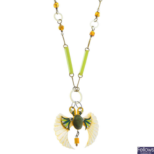An early 20th century Egyptian Revival necklace.