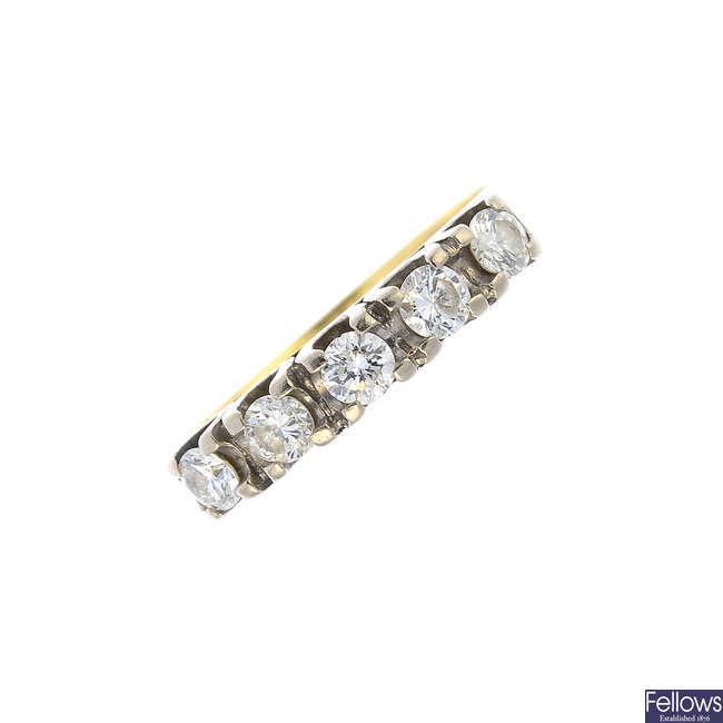 A 14ct gold diamond five-stone ring.