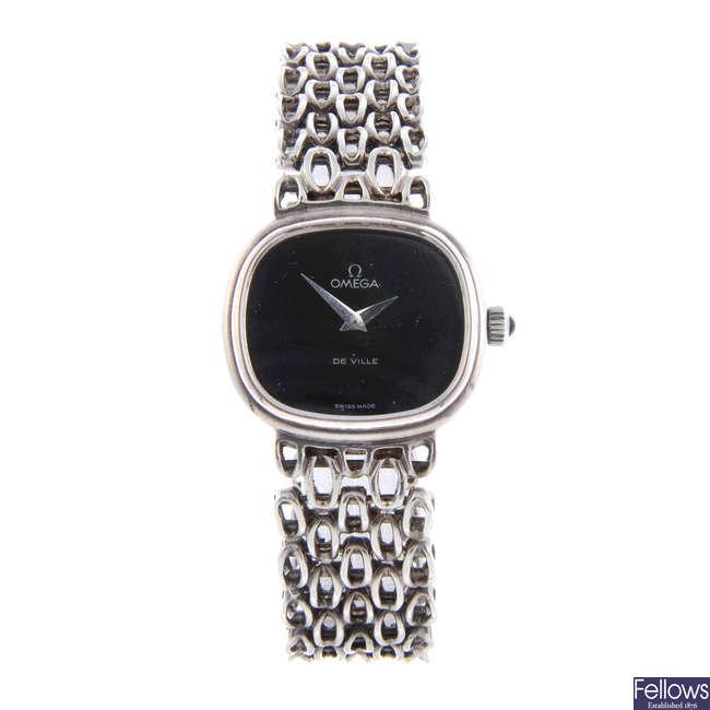OMEGA - a lady's silver De Ville bracelet watch.
