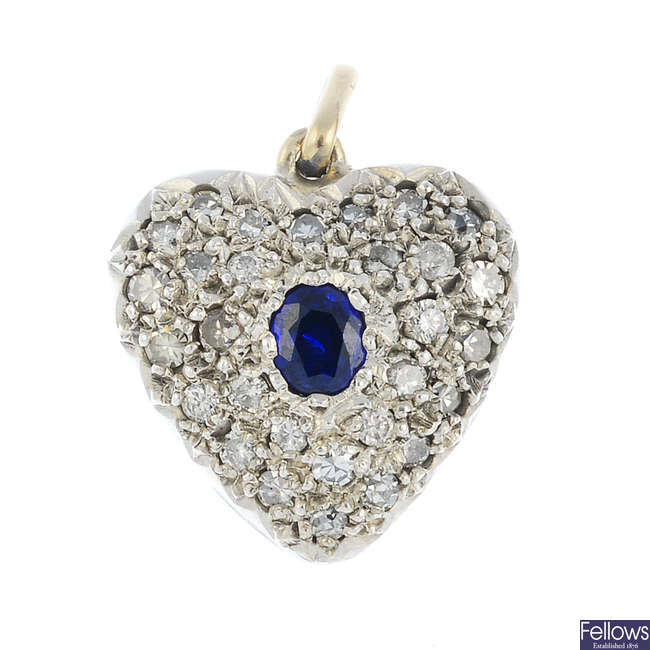 A mid 20th century 9ct gold sapphire and diamond heart pendant.