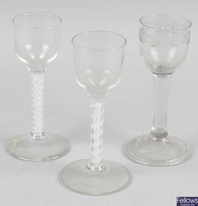 A collection of assorted drinking glasses, to include antique mercury airtwist and opaque airtwist examples.