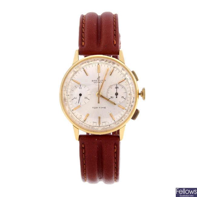 BREITLING - a gentleman's bi-colour Top Time chronograph wrist watch.