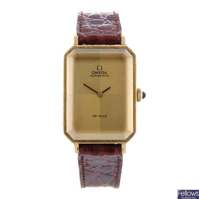 OMEGA - a gold plated De Ville wrist watch with a Zenith bracelet watch.