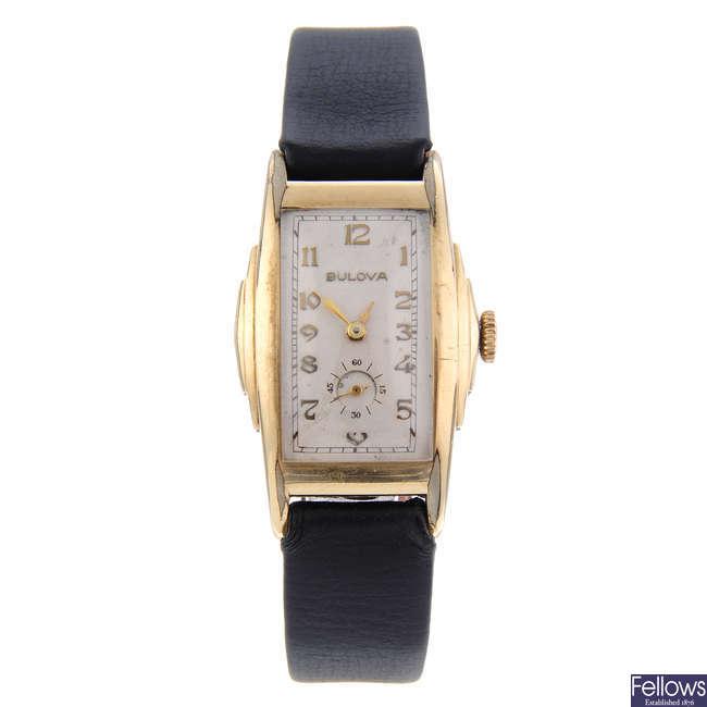 BULOVA - a gentleman's gold plated wrist watch with a lady's Bucherer wrist watch