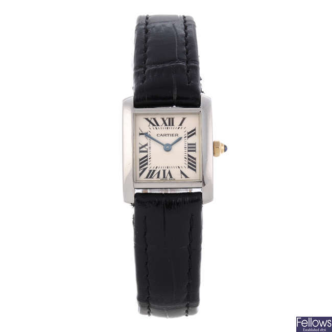 CARTIER - a stainless steel Tank Francaise wrist watch.