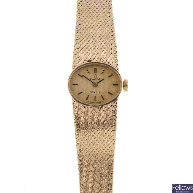 OMEGA - a lady's 9ct yellow gold De Ville bracelet watch.