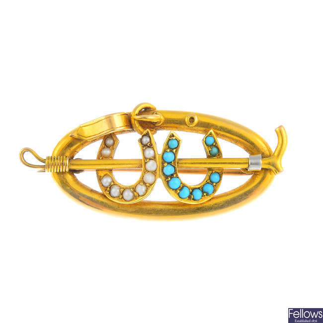 An early 20th century 15ct gold turquoise and split pearl horse riding brooch.