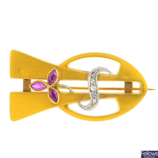 A Jugendstil gold, ruby and diamond brooch.