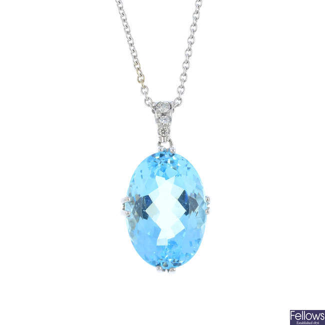 An aquamarine and diamond pendant, with chain.