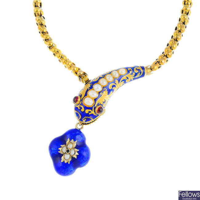 A mid Victorian 18ct gold, enamel and gem-set snake necklace.