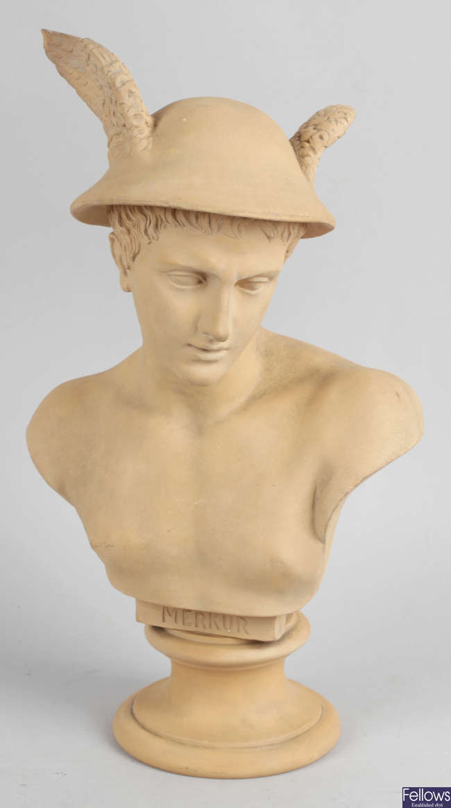 A terracotta head and shoulder bust modelled as Mercury.