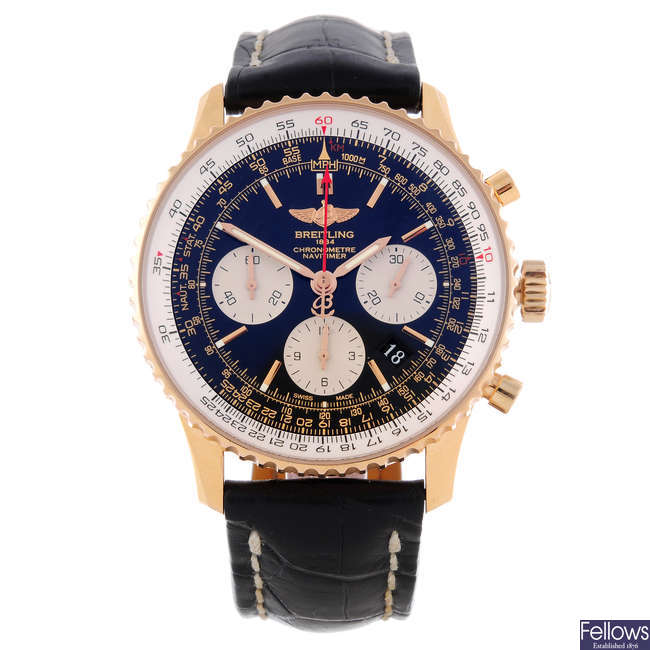 BREITLING - a gentleman's 18ct rose gold Navitimer chronograph wrist watch.