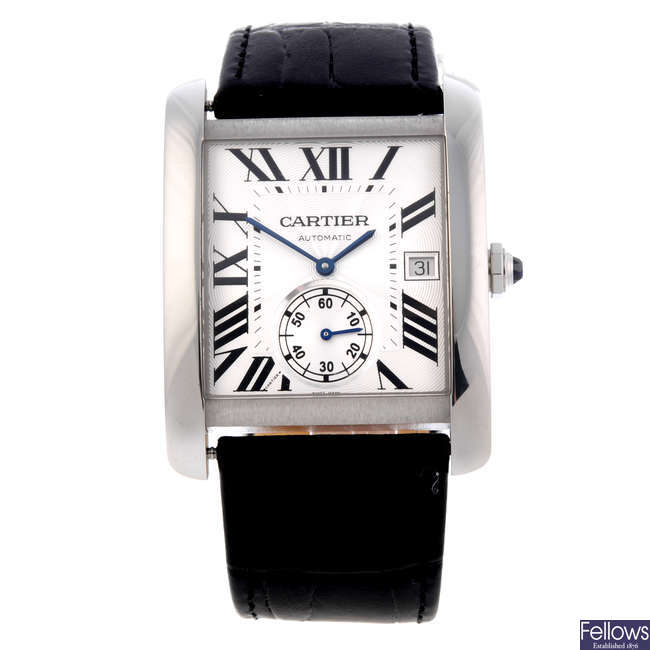 CARTIER - a stainless steel Tank MC wrist watch.