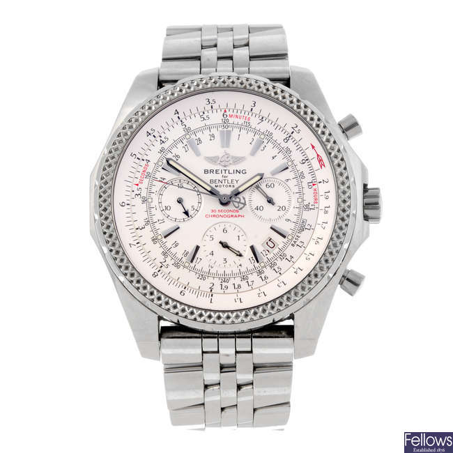 BREITLING - a gentleman's stainless steel Breitling for Bentley Motors chronograph bracelet watch.