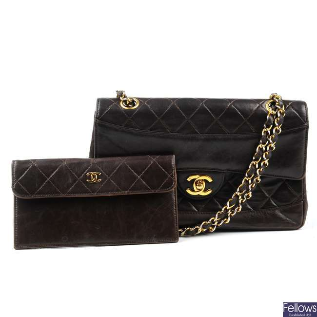 CHANEL - a vintage brown lambskin leather handbag with interior purse.
