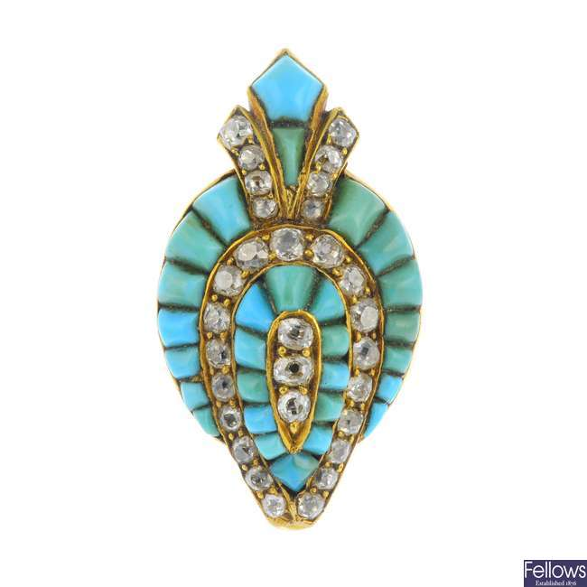 A mid Victorian 18ct gold diamond and turquoise brooch.