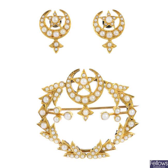 A split pearl brooch and earrings.