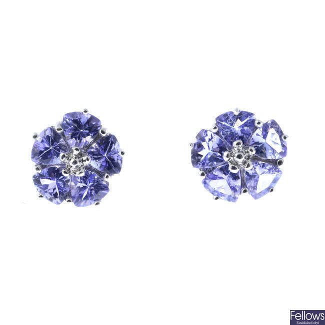 A pair of 9ct gold tanzanite cluster earrings.