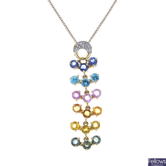A 9ct gold sapphire, zircon and diamond pendant, with chain.