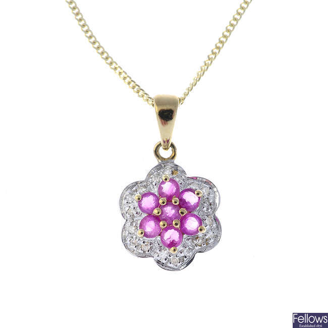 A 9ct gold ruby cluster pendant, with 9ct gold chain.
