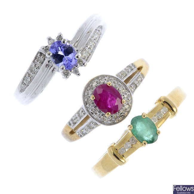 Seven 9ct gold diamond and gem-set rings.