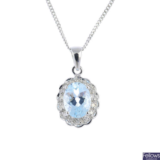 A 9ct gold aquamarine and diamond cluster pendant, with chain.